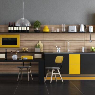Σύνθεση Κουζίνας μαύρο και κίτρινο