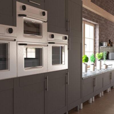 Σύνθεση Κουζίνας κομψό ύφος σε γκρι χρώμα