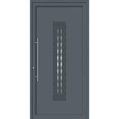 64290 Πόρτες εισόδου από αλουμίνιο ενεργειακές με επένδυση inox
